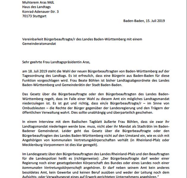 Gemeinderatsmandat unvereinbar mit dem Amt der Bürgerbeauftragten: CDU-Fraktion fordert Rücktritt von Beate Böhlen